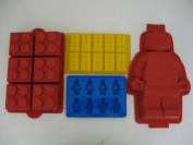 Lego Minifigure Cake mould, Lego Brick Cake, Lego Brick Ice Tray and Lego Minifigure Ice Tray Set of all 4 moulds