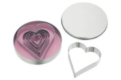 Set of 6 Heart shaped cookie cutters in a tin