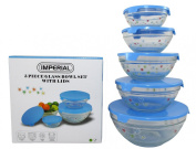 Imperial 5 Pcs Glass Nested Dipping or Storage Bowls with Blue Lids and Blue Flower Design