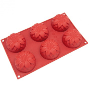 Freshware 6-Cavity Sunflower Cake Silicone Mould and Baking Pan