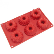 Freshware 6-Cavity Mini Fancy Bundt Cake Silicone Mould and Baking Pan