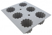 De Buyer 1834.21D Elastomoule Silicone Mould - 6 Bordelais Fluted Cakes, 8.2 cl Capacity