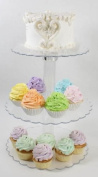 14-0.6cm Tall Three Tier Cupcake or Cake Stand with Scalloped Eges Made of Clear Hard Acrylic - Mix and Match Use As a One Tier, Two Tier or Three Tier - Centre Tube Is Hollow and Can Be Filled If Desired