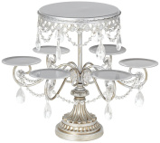 Antique Silver and Crystal Cake and Cupcake Stand