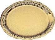 Gold lace cake board - round. Inside 15.9cm . Outside 21.9cm . Price per case of 100.
