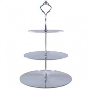 Three Tier Circle Silver Mirror Cake Stand 23cm 19cm 15cm (overall 32cm) (6inch 7.5inch & 9inch height 12.5inch)