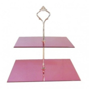 Two Tier Square Pink Mirror Cake Stand 19cm & 23cm height 26cm (7.5inch & 9inch height 10inch)