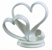 Ivy Lane Design Porcelain Double Hearts Cake Top, White, 12.4cm