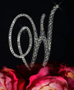 Victorian Crystal Rhinestone Cake Topper - Large Letter W