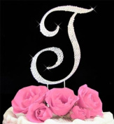 All Over. Rhinestone Initial Large Wedding Cake Topper