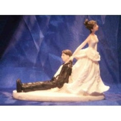 Bride and Groom Cake Top Funny Couple Inebriated Groom