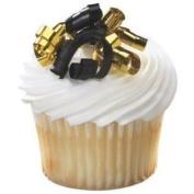12 ~ Small Black & Gold Ribbon ~ Designer Cake/Cupcake Toppers!!!