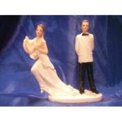 Bride and Groom Cake Top Funny Couple Running Bride