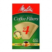 Melitta Cone Coffee filters, Natural Brown, No. 4, 100-Count filters