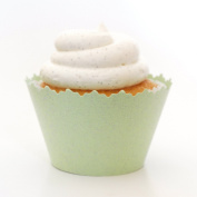Glitter Sweet Pear Green Glittering Cupcake Wrapper - Set of 12 - Dazzle Modern Liners for Cup Cakes