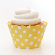 Lemon Yellow Polka Dot Cupcake Wrapper - Set of 12 - Perfect Cup Cake Item for Summer or Spring