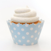 Sky Blue Polka Dots Cupcake Wrappers - Set of 12 - Cup Cake Essentials Include Polkadot Liners