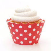 Ruby Red Polka Dot Cupcake Wrapper - Set of 12 - Wrap Liner for Fun, Novelty Cup Cakes with Polkadots