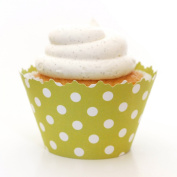 Leaf Green Polka Dots Cupcake Wrapper - Set of 12 - Wrap Enhances Cupcakes for a Simple, Unique Polka Dot Treat