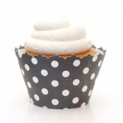 Black Polka Dot Cupcake Wrapper - Set of 12 - Liner for a Graduation, Cocktail Party or Favours At Any Celebration