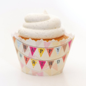 Happy Birthday Flag Banner Cupcake Wrapper - Set of 12 - Fun Party Liners for Boy or Girl Cupcakes