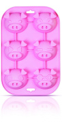 Siliconezone 6-Cup Piggy Muffin Mould, Pink