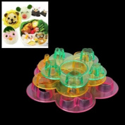 3Pcs Mix-Colour Animal Emotion Pattern Sushi Rice Ball Bento Mould Kit