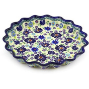 Polmedia Polish Pottery 25.4cm Stoneware Fluted Pie Dish H8482E Hand Painted from Zaklady Ceramiczne in Boleslawiec Poland. Shape S948A(GU1331) Pattern P6455A