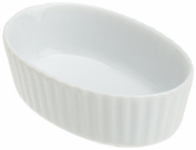 Kitchen Supply 8007 White Porcelain Oval Ribbed Ramekin