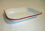 Enamelware Small Roasting Pan - Solid White with Red Rim