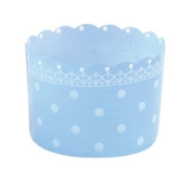 Welcome Home Brands T70080BX Celebration Free Standing Plastic Dessert Baking Cups, Set of 12, Blue Polka Dot