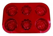 Siliconezone Red Flower Muffin Mould, 6 Cavity