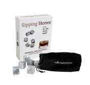 Sipping Stones Personal Set - Set of 6 Grey Whisky Chilling Rocks in Gift Box with Muslin Carrying Pouch - Made of 100% Pure Soapstone