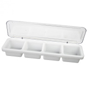Excellante 18-1/2 by 14cm by 7.6cm Single-Piece, Plastic 4 Compartment Bar Caddy with Cover
