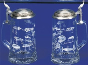 Fishing Lures Etched German Glass Beer Stein w/ an Authentic Antique & Modern Fishing Lures, Leaping Fish Embossed Pewter Lid, Made in Germany, Jon Q Wright Design