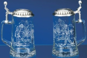 """Golf Glass Stein """"Male Golfer and Female Golfer"""" Etched German Glass Beer Stein w/ Golf Motif, Golf Design Embossed Pewter Lid, Made in Germany"""