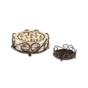 Bronze Round Scroll Holder for Ambiance or Occasions Coasters - Style HA60