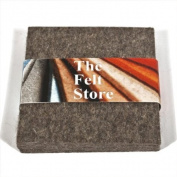 10.2cm X 10.2cm X 0.5cm Square Felt Coasters - Grey, 4 Pack