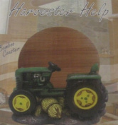 Green Farm Tractor with Hay Set of Bamboo Coasters
