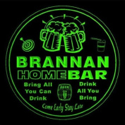 4x ccq05147-g BRANNAN Family Name Home Bar Pub Beer club Gift 3D Coasters