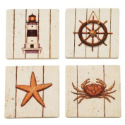 Sandstone Nautical Inspired Seaside Table Coasters with Cork Backing, Set of 4