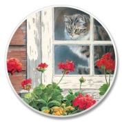 Cat in Window Stone Auto Car Cupholder Coaster