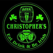 4x ccpa0011-g CHRISTOPHER'S Irish Shamrock Pub Ale Bar Beer Etched Engraved 3D Coasters