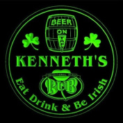 4x ccpa0017-g KENNETH'S Irish Shamrock Pub Ale Bar Beer Etched Engraved 3D Coasters