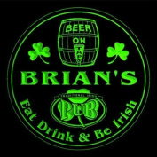 4x ccpa0020-g BRIAN'S Irish Shamrock Pub Ale Bar Beer Etched Engraved 3D Coasters