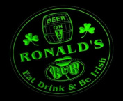 4x ccpa0021-g RONALD'S Irish Shamrock Pub Ale Bar Beer Etched Engraved 3D Coasters