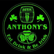 4x ccpa0022-g ANTHONY'S Irish Shamrock Pub Ale Bar Beer Etched Engraved 3D Coasters