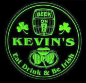 4x ccpa0023-g KEVIN'S Irish Shamrock Pub Ale Bar Beer Etched Engraved 3D Coasters