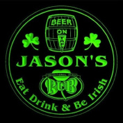 4x ccpa0024-g JASON'S Irish Shamrock Pub Ale Bar Beer Etched Engraved 3D Coasters