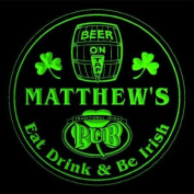 4x ccpa0025-g MATTHEW'S Irish Shamrock Pub Ale Bar Beer Etched Engraved 3D Coasters